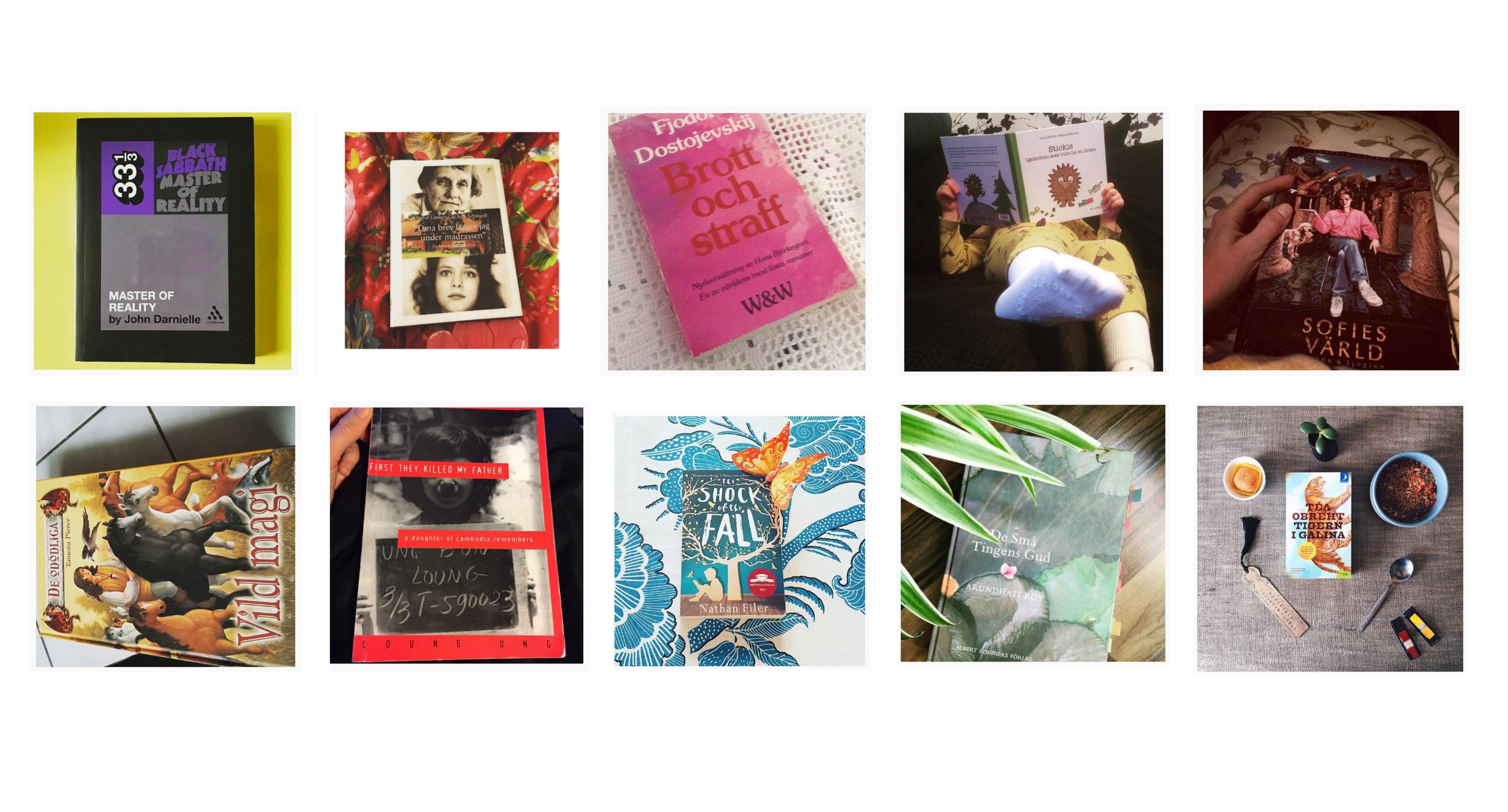 Collagebild på olika böcker